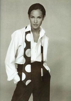Claudia Mason for Vogue, 1992 wearing a chic black and white polka dot tie