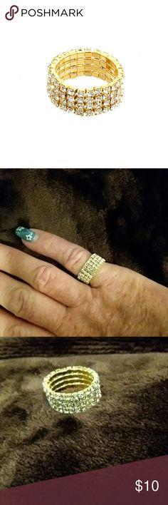 Rhinestone stretch ring,  gold Rhinestone stretch ring,  gold tone four lined midi ring Jewelry Rings