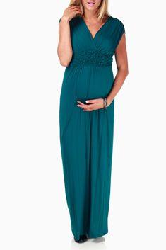 Teal Scrunchy Maternity/Nursing Maxi Dress - Pink Blush Maternity