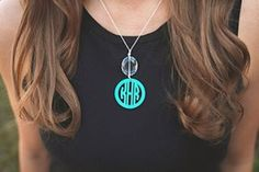 Drop Pendant Monogram Necklace - *Shown is the CIRCLE Monogram (its a print versus the Vine which is a curly script.) Both fonts have the circle ring around the letters. Sterling Silver Monogram Necklace, Monogram Jewelry, Sterling Silver Cross Pendant, Sterling Silver Chains, Necklace Price, Tassel Necklace, Pendant Necklace, Drop Necklace, Stone Necklace