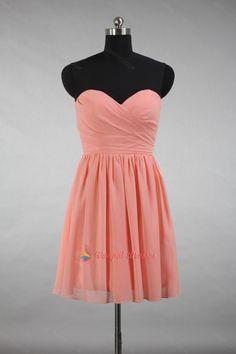88.00$  Buy here - http://vivpk.justgood.pw/vig/item.php?t=33egiyz57127 - Salmon Strapless Pleated Short Chiffon Cocktail Dresses 88.00$