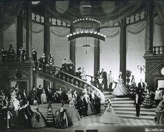 Subject: Verdi's La Traviata, Act III   Location: Metropolitan Opera, New York   Principals: Renata Tebaldi, Violetta; Giuseppe Campora, Alfredo; Fausto Cleva, conductor; Oliver Smith, set design; Rolf Gérard, costumes; Tyrone Guthrie, director.   Date: February 21, 1957   Photographer: Louis Mélançon