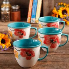 The Pioneer Women Flea Market 16 oz Decorated Coffee Cup, Floral Turquoise, Set of 4 Image 1 of 3