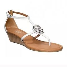 """NEW! COACH vipor LoW wedge LEATHER SANDAL 9 thong New in Box! White (chalk) COACH low wedge sandal. Sz 9. leather. With coach emblem in center and adjustable ankle strap. 1.5"""" high heel. Coach Shoes Sandals"""