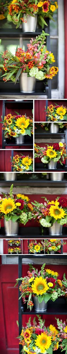 Sunflower Wedding Centerpieces in silver tin containers  Reduce, Reuse, Recycle…Rehearse | Wilmington Weddings NC - Weddings ...