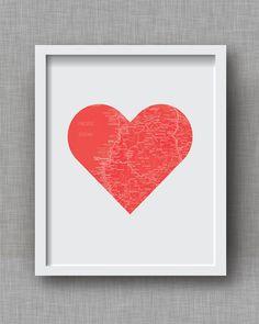 Custom City Map Art Print - Valentine's Day City Road Map Heart Print - City Map Art Print, Love Print, Anniversary Gift, Wedding Gift on Etsy, $35.00