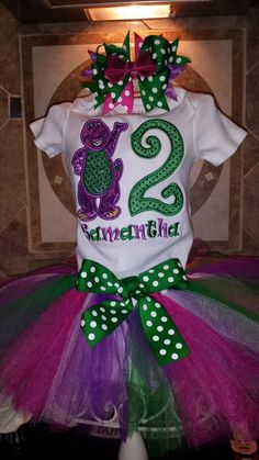 Barney Birthday Outft  FREE US SHIPPING by SouthernBlingBowtiqu, $40.00