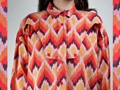 Vintage 90s IKAT Southwest Cotton Blouse by PrismOfThreads on Etsy