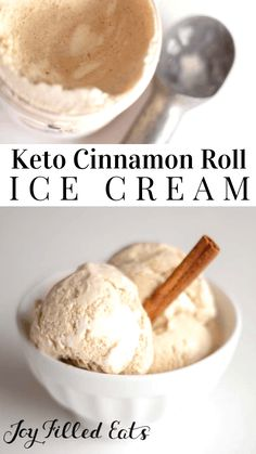 Keto Cinnamon Roll Ice Cream - Low Carb, Sugar-Free, THM S - With a Cream Cheese Icing Swirl this tastes just like a frozen Cinnabon. This ice cream is sweet, creamy, with the spice of cinnamon and a ribbon of fluffy cream cheese icing running through it. Keto Desserts Cream Cheese, Cream Cheese Icing, Ice Cream Recipes, Sugar Free Desserts, Low Carb Desserts, Low Carb Recipes, Diet Recipes, Protein Recipes, Recipies