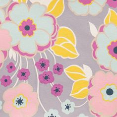 Alexander Henry House Designer - Sew Retro - Retro Floral in Grey