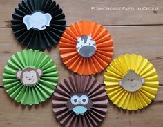 So you make rosettes or paper medallions to decorate your parties with amber Jungle Theme Parties, Jungle Theme Birthday, Safari Theme Party, Jungle Party, Animal Birthday, Baby Party, Baby Birthday, Jungle Safari, Safari Party Decorations