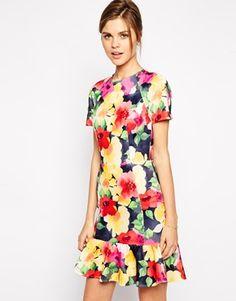 ASOS Pencil Dress With Peplum hem in Scuba Blurred Floral Print