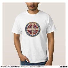 St Benedict medal Mens graphic tee shirt Catholic Saint Tshirt screenprinted