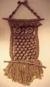 macrame - I am pretty sure my mom made this exact pattern - that stuff was just plain ugly!  I had a hanging coffee table - big circle of glass hung by macrame - way cool at college!