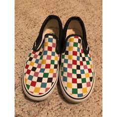 1410ca76b0b Vans Shoes | Rare Vans Multicolored Classic Slip-Ons | Color: Red | Size
