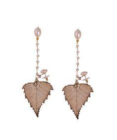 Beverly Hills Design - Orecchini foglia e perle -