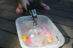 Freeze toys in a bucket of water then let kids use hammer to excavate. Dinosaur party - dig up fossils.