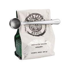 A Estrenar Durable de Acero Inoxidable Té Café Cuchara Medidora Con Bolsa de Portátil Clip de L1(China (Mainland))