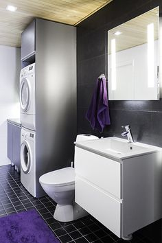 Row house, interior design, bathroom. Rivitalo sisustussuunnittelu, kylpyhuone. Radhus, inredningsdesign, badrum. Home, Washer And Dryer, Residential, Washing Machine, House, Interior Design, Row House, Home Appliances, Bathroom