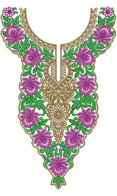 10259 Neck Embroidery Design Embroidery Neck Designs, Embroidery Stitches, Embroidery Patterns, Collar Pattern, Fashion Sewing, Stitch Design, Paint Designs, Textiles, Lahenga