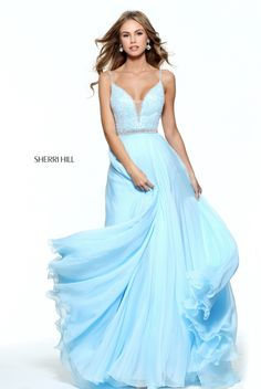 Delicate beads accent the deep V-neckline on the beaded bodice of this Sherri Hill 51009 prom dress with a beaded waistband and beaded spaghetti straps. This sleeveless dress showcases a sheer inset accenting the neckline, a bead trimmed V-back and a full-length layered A-line skirt with sweep train. Sherri Hill Prom Dresses, Prom Dresses 2017, Wedding Dresses, Bridal Gowns, Grad Dresses Short, Dresses For Teens, Graduation Dresses, Girls Dresses, Princess Prom Dresses
