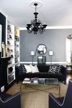 living room, black white and gray - Click image to find more Home Decor Pinterest pins