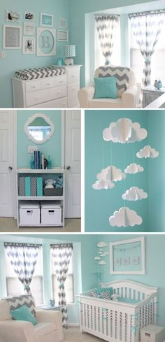 Beautiful sky and cloud inspired nursery in aqua and gray chevron.