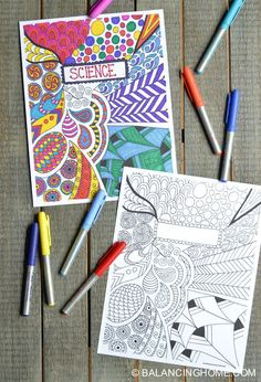 Back in my school days I was quite the doodler. Remember when the phone was attached to a wall and you didn't really have anywhere to go or anything to do so you would just sit a (Diy School Binder) Colouring Pages, Adult Coloring Pages, Coloring Books, Coloring Sheets, Doodle Coloring, Diy Pour La Rentrée, School Book Covers, The Doodler, Diy Back To School
