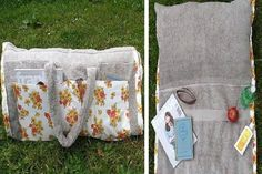 Whether you are heading out for a day at the beach or you are simply going to the park for a couple of hours, you can be comfortable  ready with a DIY beach tote made from a towel, pillow and a bit of fabric!