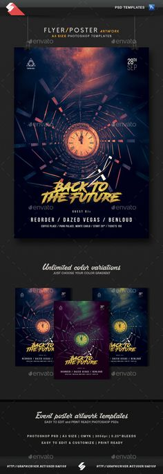 Back To The Future - Party Flyer / Poster Template A3 PSD. Download here: https://graphicriver.net/item/back-to-the-future-party-flyer-poster-template-a3/17592790?ref=ksioks