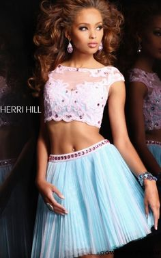 Sherri Hill 21154 Two Piece Pleated Ivory Aqua Prom Dress