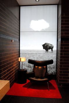 sitting area in a public restroom, vancouver Cafe Interiors, Restaurant Interiors, Public Restrooms, Red Floor, Public Bathrooms, White Houses, Washroom, Egg Chair, Sitting Area