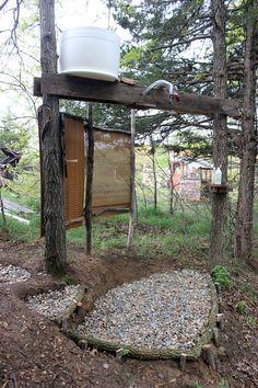 Awesome spa-like outdoor shower! Homestead Honey | A Homestead Outdoor Shower | http://homestead-honey.com
