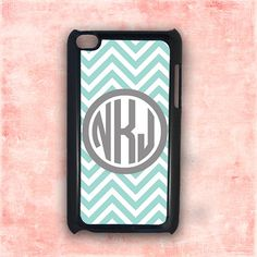 Personalzed iPod Touch 4 case - Tiffany blue chevron gray monogram - custom case Ipod Touch 4th generation, itouch 5th gen 5 (9846) on Etsy, $15.99