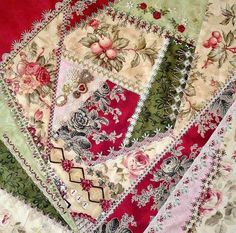 Crazy Quilting, Crazy Quilt Stitches, Crazy Quilt Blocks, Patch Quilt, Quilt Block Patterns, Art Quilting, Silk Ribbon Embroidery, Embroidery Stitches, Embroidery Patterns
