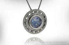 Silver & Roman Glass Israeli Handmade Pendant / by RAFAELJEWELRY