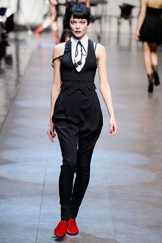 Example of female dandy dress on the runway. With the suit like garments. 2010