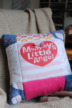 Baby clothes keepsake - patchwork quilted cushion