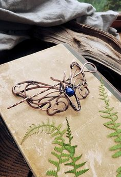 Hair pin Butterfly hair stick -  Wire wrapped hair accessories - Something blue Lapis lazuli - Gift for women - Bohemian style Art Nouveau