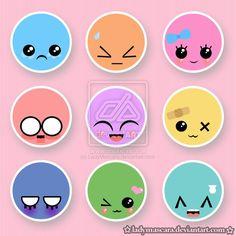 kawaii button set by ~LadyMascara on deviantART Kawaii Faces, Kawaii Chibi, Cute Faces, Funny Faces, Cool Buttons, Cartoon Faces, Kawaii Stickers, Kawaii Fashion, Cute Illustration