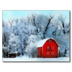 Christmas postcards, Red barn, Winter twilight,Holiday postcards
