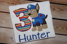 A personal favorite from my Etsy shop https://www.etsy.com/listing/240363485/personalized-paw-patrol-birthday-shirt
