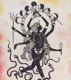 Kali Goddess, Goddess Art, Kali Tattoo, Kali Ma, Goddess Tattoo, Arte Obscura, Occult Art, Hindu Art, Visionary Art