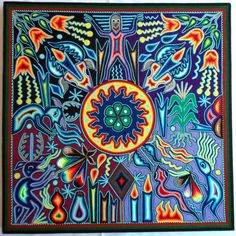 "23 5"" Mexican Huichol Sun Deer Peyote Shaman and Tree of Wind Yarn Painting | eBay"