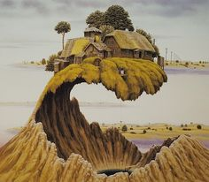 Polish artist Jacek Yerka (this makes me think of the environments in the Studio Ghibli films!)