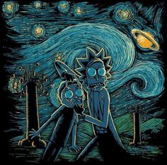 Exclusive Starry Rick And Morty Noche Estrellada fan art mash up designs on a range of apparel and accessories. Rick And Morty Drawing, Rick I Morty, Rick And Morty Poster, Ricky And Morty, Japon Illustration, Cartoon Wallpaper, Vincent Van Gogh, Art Prints, Cool Stuff