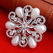 Pearl Round Flower Shape Brooch – USD $ 2.99