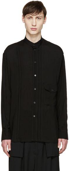 YOHJI YAMAMOTO Black Band Collar Shirt. #yohjiyamamoto #cloth #shirt