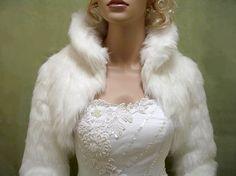 Ivory faux fur jacket shrug bolero Wrap FB002Ivory by alexbridal, $99.99