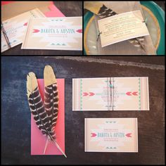 Virginia wedding invitation designer The Girl Tyler designed a custom suite featuring feather and stone, coral and turquoise and Native American design. Wedding Shoot, Chic Wedding, Our Wedding, Dream Wedding, Wedding Favors, Wedding Decorations, Native American Wedding, Adoption Party, 10th Wedding Anniversary